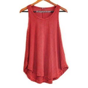 splendid Red Round Hem Stripe Sleeveless Tank Top